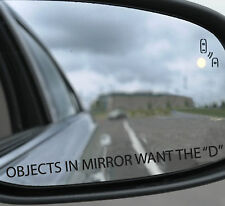 3 x Objects in mirror want the D Funny 4x4 car Sticker 170x10mm Premium quality