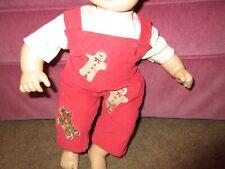 Handmade Bitty Baby Girl Gingerbread Cord Overalls/Tan Tee