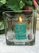 """1 Personalized Etched 3"""" Glass Candle Holder for Funeral, Bereavement Gift"""