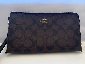 "Coach Large Wristlet in PVC Signature Canvas Brown 8.5"" x 5"""