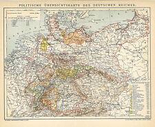 Alte Landkarte 1895: Politische Ãœbersichtskarte des Deutschen Reiches. (B14)