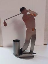 H & K Sculpture Golf Business card holder pencil holder Metal Never Used