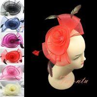 Flower Feather Hair Hat Fascinator Headband Mesh Wedding Royal Ascot Formal Race