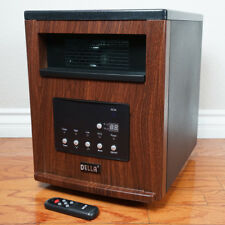 1500-Watt Portable Infrared Cabinet Large Room Heater with Remote w/ Wheel Brown