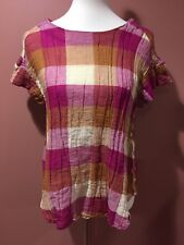 Anthropologie Isabella Sinclair Posy Plaid Short Sleeve Blouse Top Size M