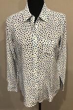 Equipment - Silk Long Sleeve Button Up Shirt Blue Stars Size S/P