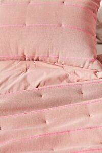 Anthropologie Woven Pink Striped Quilted James Euro Pillow Sham NEW