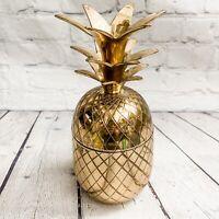 "Vtg Brass Pineapple 2 pc. Ice Bucket Container Trinket Hollywood Regency MCM 10"""