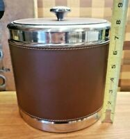 Vintage Ice Bucket Mid Century Leather Stainless Steel Retro Barware MCM