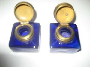 A Pair of Antique Blue Glass Small Ink Well Pots Original Hand Crafted & Made
