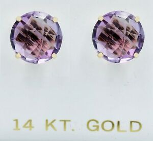 GENUINE 6.84 Cts AMETHYST STUD EARRINGS 14K GOLD ** FREE APPRAISAL ** NWT