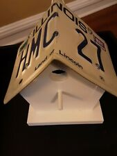 Illinois License Plate Birdhouse Wood Made In Usa State Handmade New Christmas