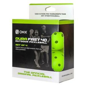 New Onix Dura Fast 40 Outdoor Pickleball Balls  4 Pack - Neon Green