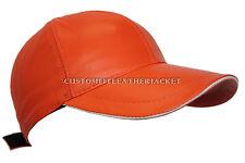 Naranja De Béisbol Unisex de cuero genuino cordero Napa Suave Real Hip-Hop Gorra Sombrero