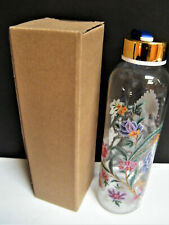 Margot Elena NEW w Box Glass Water Bottle Flowers 16oz Peacock Floral BPA FREE