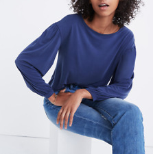 MADEWELL WOMEN'S BLUE SANDWASHED JERSEY GATHERED LONG SLEEVE TOP Sz L