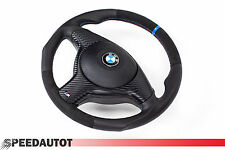 TUNING Lederlenkrad mit alcantara BMW E46 M3 E39 M5 E53 X5 Blende Airbag blau