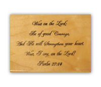Wait on the Lord mounted Christian bible verse rubber stamp, Psalm 27:14 CMS #6