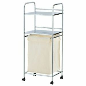 Laundry Basket with 2 Tier Chrome Plated Metal Storage Shelves