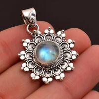 Rainbow Moonstone Gemstone Jewelry 925 Sterling Silver Designer Pendant