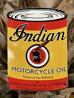 VINTAGE INDIAN MOTORCYCLE OIL PORCELAIN METAL SIGN USA GAS PUMP STATION CAN