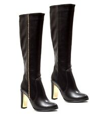 Lady Couture Rhinestones Knee High Boots Chunky Heel Women's shoes Classy