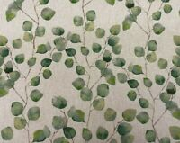Watercolour Leaves Print Cotton Rich Linen Fabric Craft Curtain | Eucalyptus