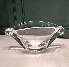 Vintage Steuben Crystal Oval Art Bowl Scroll Snail Handles George Thompson