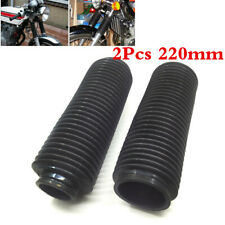 2PCS Universal Black Motorcycle Rubber Front Fork Dust Cover Gaiters Gators Boot