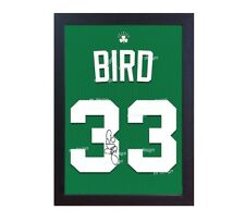 Larry Bird Boston Celtic NBA signed autograph CANVAS 100% cotton t- shirt Framed