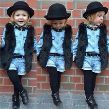 Baby Girls Toddler Kids Winter Faux Fur Waist Coat Gilet Jacket Outwear Vest New