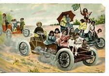 Multiple Children Driving in Old Cars-Autos-Dirt Road-Vintage Comic Postcard