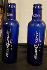 "2 Large Bud Light Budweiser Cobalt Blue Glass Beer Advertising Bottles 14 1/2"""