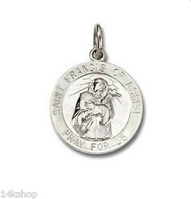 Small Sterling Silver .925 Saint St. Francis of Assisi Charm 1g Shiny  Pendant