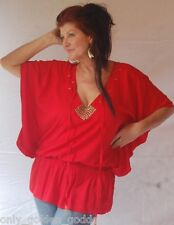red shirt blouse top OS m l xl 1x smocked wasit blouson studs ties