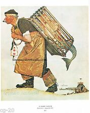 "Norman Rockwell print ""A FAIR CATCH"" Lobster Shrimp Fisherman Mermaid Fishing"