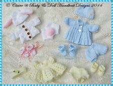"*3* BABYDOLL HANDKNIT DESIGNS KNITTING PATTERNS CBSC FOR 5 & 8"" BERENGUER DOLLS"