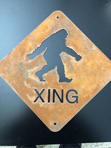 Bigfoot Crossing sign - Rusted Metal
