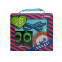 LUV HIM BABY Infant Boy Monthly Milestone Belly Stickers, Bow Tie and Bootie Set