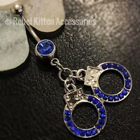 14g Cz Blue Sparkle Dangle Handcuff Belly Button Navel Ring Piercing