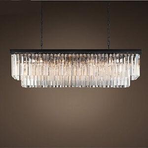 Luxury Modern Rectangle LED Gold Crystal Dining Living Room Chandelier Lamp