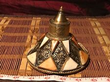 Vintage Brass and Ceramic w/ Inlay Decorative Pieces Replacement Lid