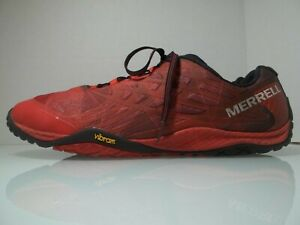 MEN'S SIZE 12 MERRELL TRAIL GLOVE 4 MOLTON LAVA BAREFOOT RED RUNNING TRAIL SHOES