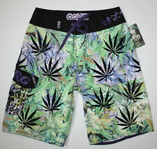 d18a5eada4538 LRG Lifted Research Group L-R-G Men's 28 Green Black LEAF Surf Boardshorts  New