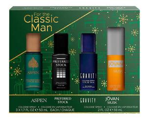 Classic Man 4 Piece Cologne Set (Aspen + Jovan Musk + Gravity + Preferred Stock)