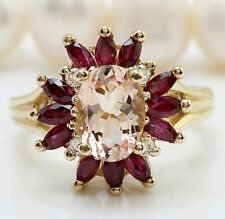 3.85CTW Natural MORGANITE RUBY and DIAMOND in 14K Solid Yellow Gold Women Ring