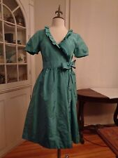 J, CREW 100% silk taffeta teal wrap dress NWT women's size 6 ruffle