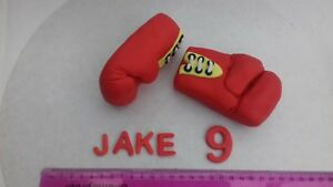 Pair of Red Boxing Gloves Red 3D Figures  Personalised Edible Cake Topper