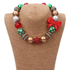 New Gumball Red Green Bead Necklace Red Bow Pendant for Little Kid X-mas Gift