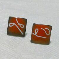 Vintage Mid Century Modern Red Enamel On Copper Square Screw Back Earrings